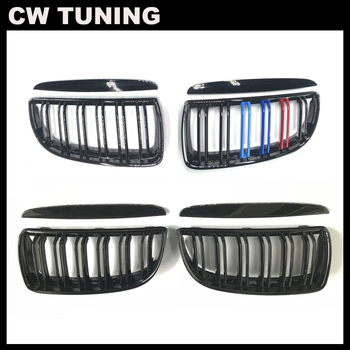 1 Pair Car Grille Grill Front Kidney Gloss 2 Line Matt Black M Color Double Slat For BMW E90 E91 3 Series 2004 2005 2006 2007 image