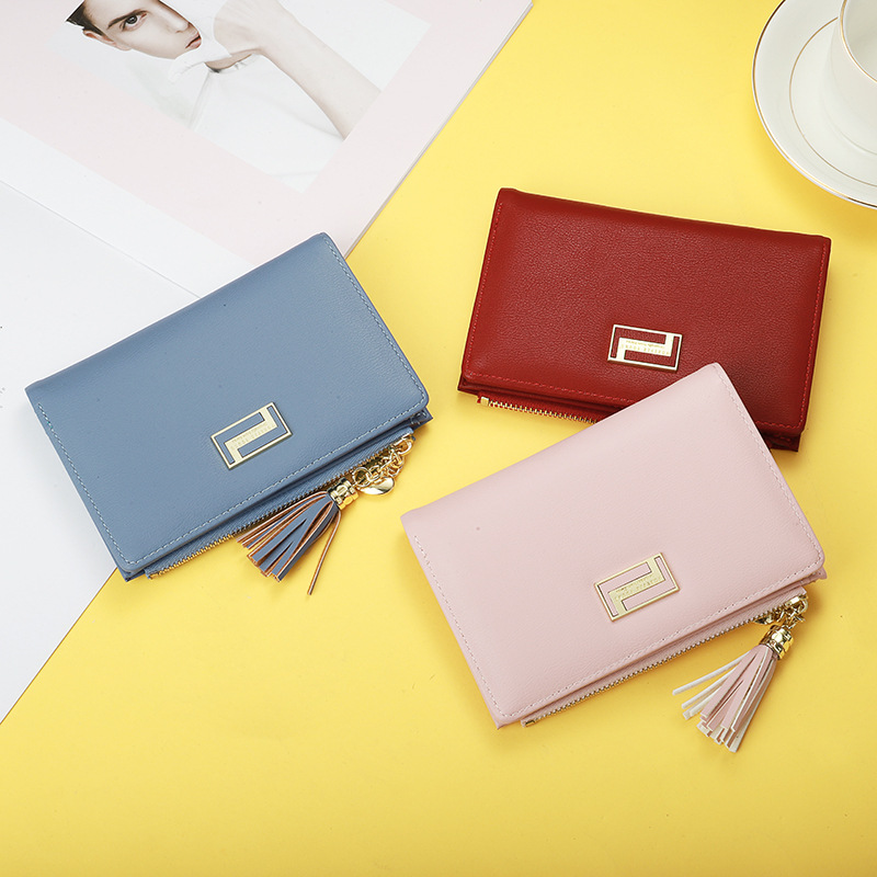 -Style Magnetic Snap Wallet Cross Square Card Bit More Carrying Wallet Korean-style Short Purse
