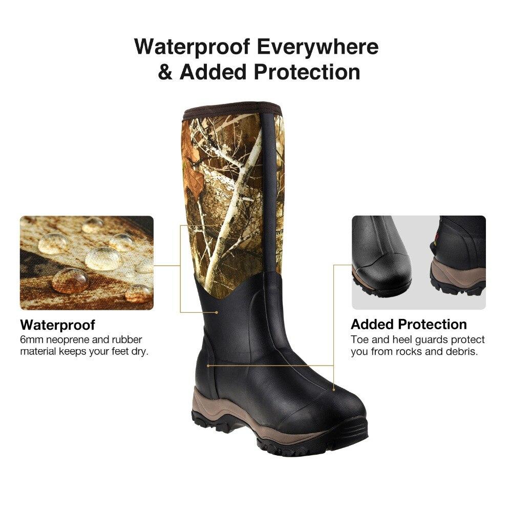 TideWe bottes de chasse isolé 400G imperméable Durable 40cm de haut 6mm néoprène et caoutchouc botte extérieure pour hommes Realtree Edge camouflage