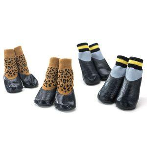 4 шт./компл. 7 Размер Нескользящие водонепроницаемые носки для собак противоскользящие ботиночки резиновая защита лап обувь для домашних жи...