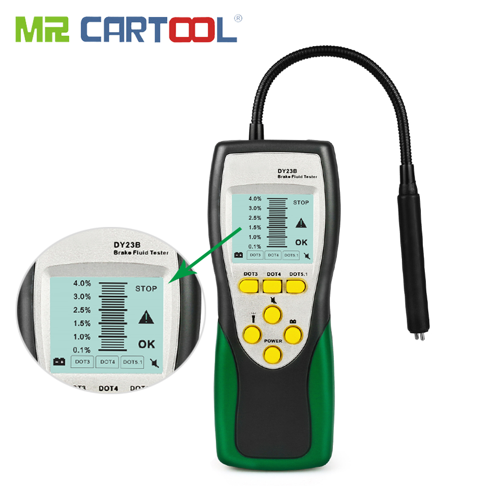 Mr Cartool Free Shipping Brake Fluid Tester For Car Oil Inspection Goose Neck LCD Display DOT3 DOT4 DOT5 Auto Diagnostic Tools