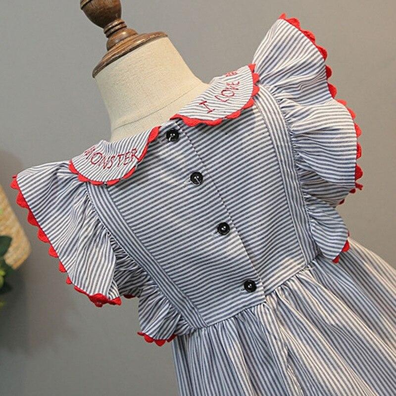 2021 New Summer Baby Girls Princess Dress Kids Wedding Party Dresses Children Embroidery Stripe Elegant Dress Cotton Clothing 5