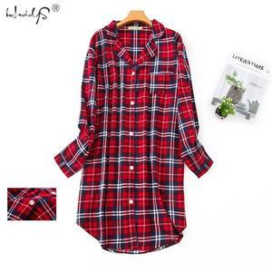 Image 1 - Plus Size Flanellen Nachthemd Vrouwen Nachtkleding Plus Size Nachtkleding Lange Mouw 100% Katoen Mest dame Huishouden Kleding