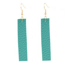 цена на Hot Selling Classic Pu Leather Rectangle Dangle Earrings Bohemia Statement Vertical Bar Ear Pu Leather Earrings