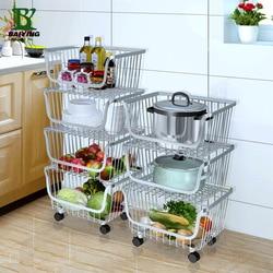 Estante de cocina de acero inoxidable 304, cesta de almacenamiento para productos del hogar, cesta para fruta y verdura, organizador de habitación