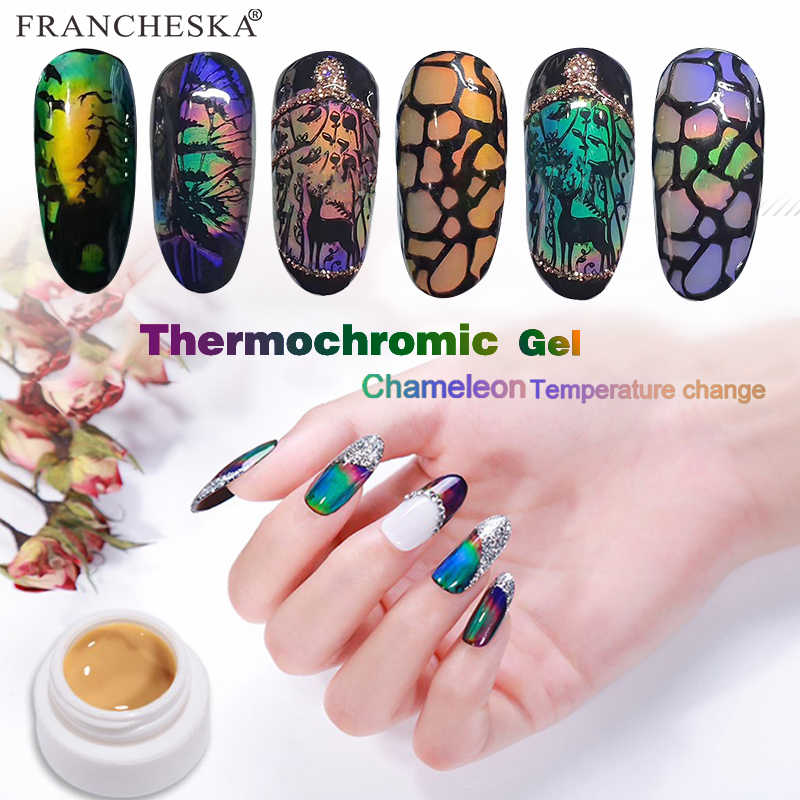 Terbaru Thermochromic Gel Aurora Chamelon Cat Suhu 12 Warna Neon Paku Gel Varnish Termal Gel Desain Kuku Foil