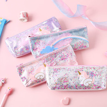 Transparent Pencil Case School Pencil Case For Girls Pink Cute Sequins Pencil Box Pen Pouch Stationery Kawaii Cosmetic Bag Tools недорого