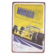 1Pc Ayrton Senna 1987 Monaco Metalen Plaat Decoratie F1 Koffie Huis Metalen Stuk Schilderen Formule Racing Cafe Ijzeren Plaat pub Arti
