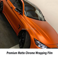 Newest orange Vehicle wrapping Plastic wrap matte chrome car warpping With Air Bubble Free orange car vinyl Popular Korea