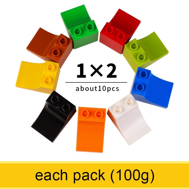 1x2 Large Size Slide Tile Bricks Classic Big Size Building Blocks Learning Toys For Boy Comaptible With Legoed Duploed Brick