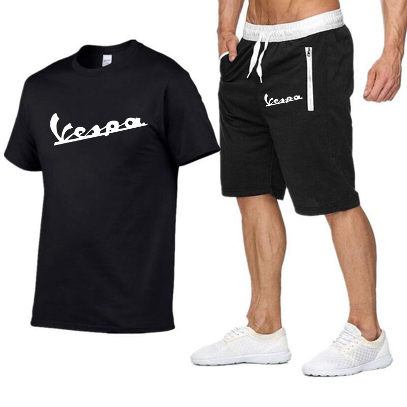 2020 Brand T Shirt Men Vespa Fashion Summer Cotton Short Sleeve Sporting Suit T-shirt +shorts Mens 2 Pieces Sets Casual Clothing