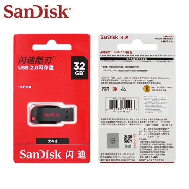 100% Original SanDisk Cruzer Blade CZ50 USB Flash Drive 128GB 64GB 32GB 16GB Pen Drive USB 2.0 Support Official Verification 4