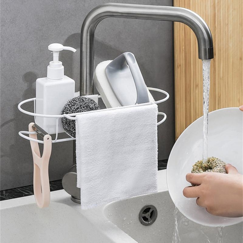 US $9.71 40% OFF|Faucet Sponge Cloth Shelf Rack Kitchen Sink Organzier Sink  Sponge Holder Rack Bathroom Rack Shelf Organizer Stainless Steel on ...