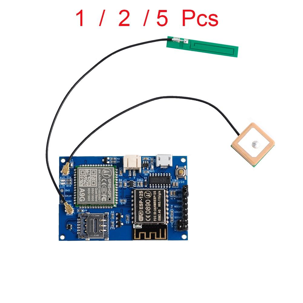 1/2/5pcs ESP8266 ESP-12S A9G GSM GPRS+GPS Module Node V1.0  IOT Development Board WiFi+Cellular+GPS Tracking All In One