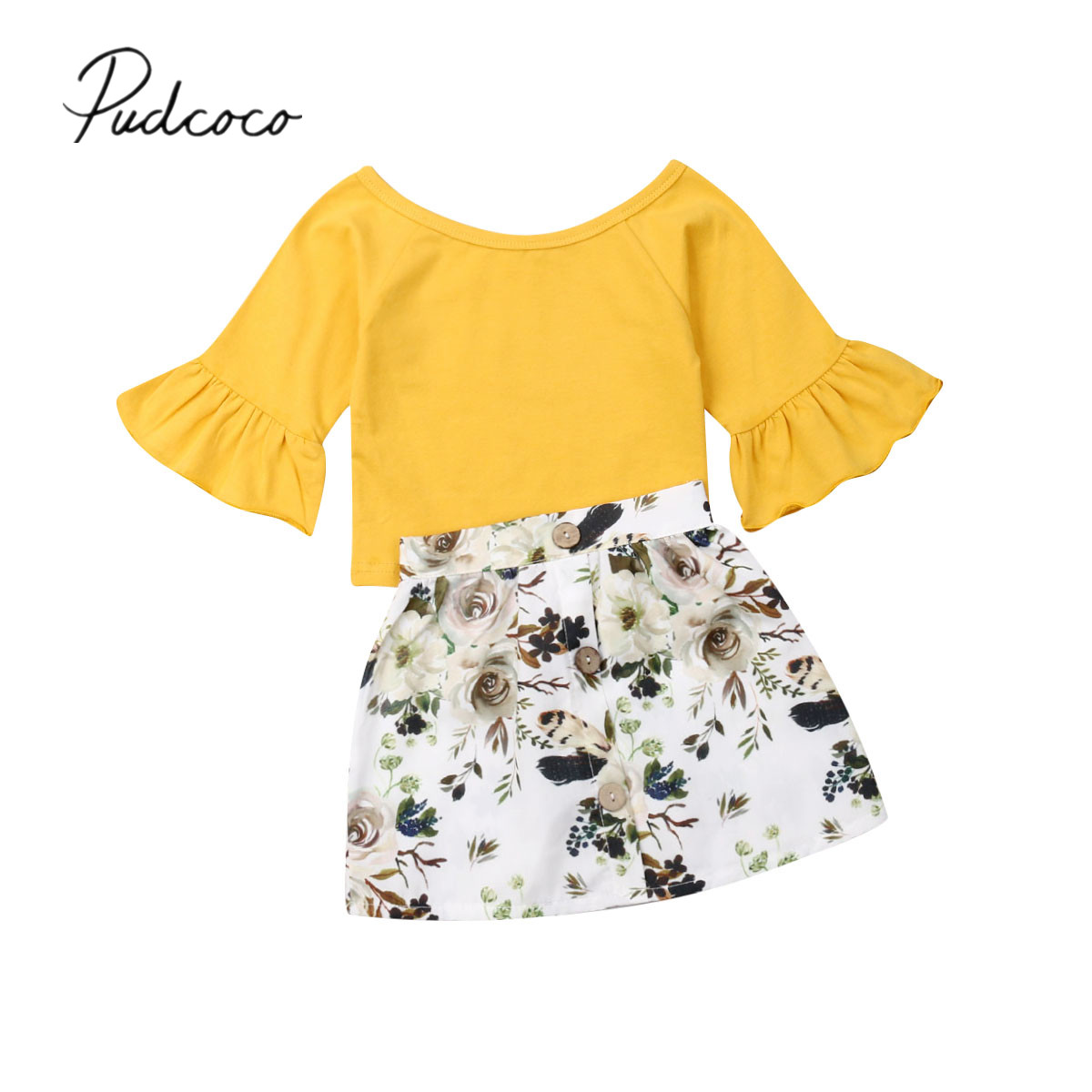 2019 Baby Summer Clothing Newborn Toddler Infant Baby Girl Clothes Flare Sleeve T-shirt Top Floral Mini Skirt Outfit Set 6M-4T
