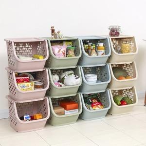 Image 1 - 2020 المطبخ سلة التخزين البلاستيك متعددة الوظائف الخضار الفاكهة رفوف يمكن مكدسة سلة التخزين المنظمون صندوق تخزين