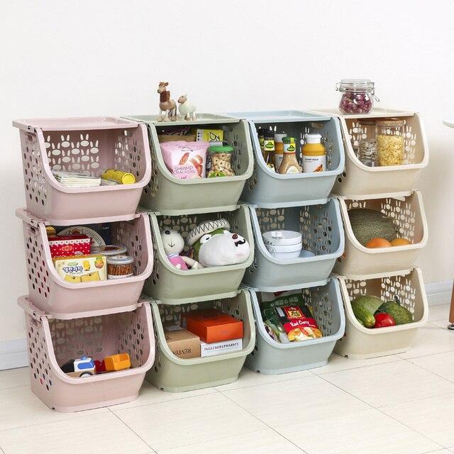 2020 المطبخ سلة التخزين البلاستيك متعددة الوظائف الخضار الفاكهة رفوف يمكن مكدسة سلة التخزين المنظمون صندوق تخزين