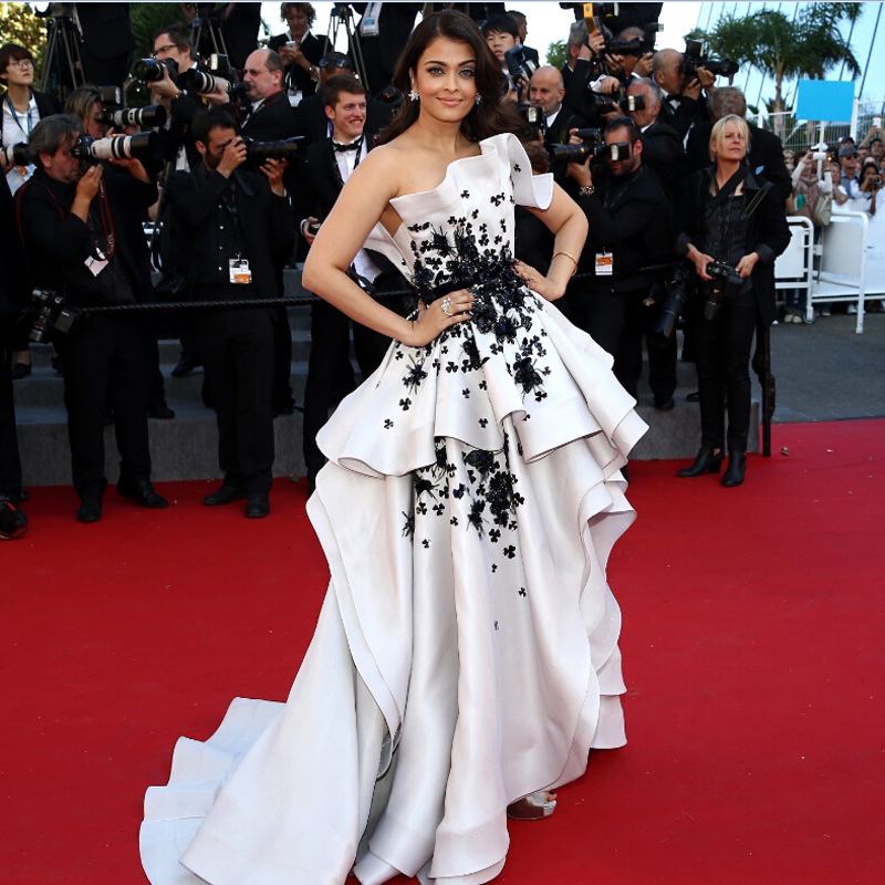2018 Cannes Film High Low White And Black Fashion Aishwarya Rai Formal Gowns Vestido De Renda Mother Of The Bride Dresses