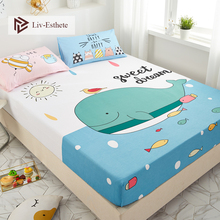 Liv-Esthete Cartoon Whale 100% Cotton Sweet Dream Fitted Sheet Fish Mattress Cover Bed Linen On Elastic Band For Adult