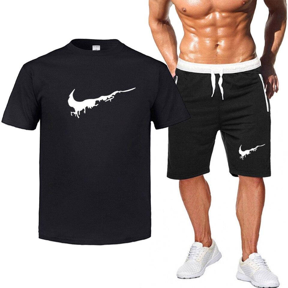 Summer New Style Men Casual Short Sleeve T-shirt Sports Set Large Size Men Shorts + T-shirt Suit
