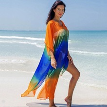 Beach Wear Swimwear Cover Up Summer Dress Polyester Fashion Chiffon V-neck Multi-color Gradient on Vacation Skirt Bikini Blouse