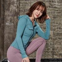 Women Fitness Jacket Hooded Gym Yoga Top Shirts Zipper Sports Running Cropped Top Autumn Women Workout Clothing Gym Sportswear