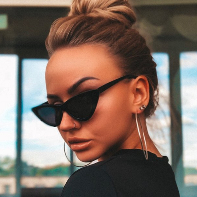 2019 Fashion Cat Eye Sunglasses Women Vintage Small Sunglases UV400 Black Shades Retro Cateye Lunette De Soleil Femme Oculos
