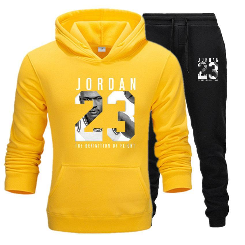 2019 Brand Tracksuit Fashion JORDAN 23 Print Men Sportswear Pullover Two Sets Leisure Fleece hoodies +Pants Sporting Suit Male  (6)