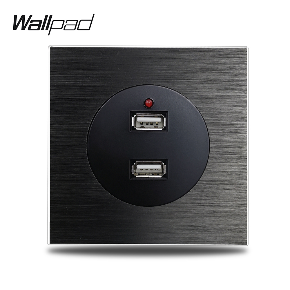 Wallpad L6 Double 2 USB Charging Wall Socket 2.4A Power Outlet Brushed Black Aluminum Panel