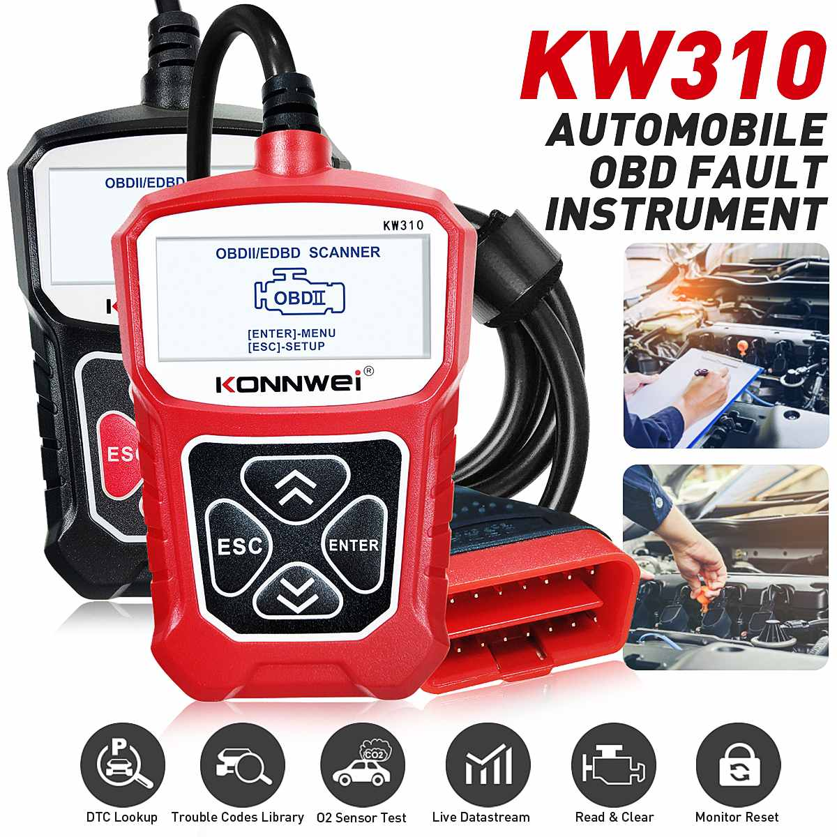 KONNWEI KW310 OBD2 Scanner OBD Universal Auto Diagnostic Tool Check Engine Code Reader Automotive Diagnostic Tool for Auto Car
