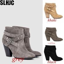 SLHJC High Heel Women Autumn Boots 2019 New Retro Female Plus Size Pointed Toe Block Heels Pumps Sho