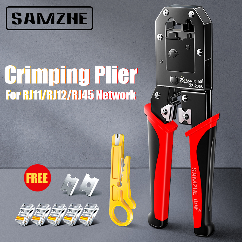 SAMZHE Crimping Plier Wire Tracker RJ11 12 45 Cable Crimper Stripping for 6P 8P Ethernet and Telephone Cable Making