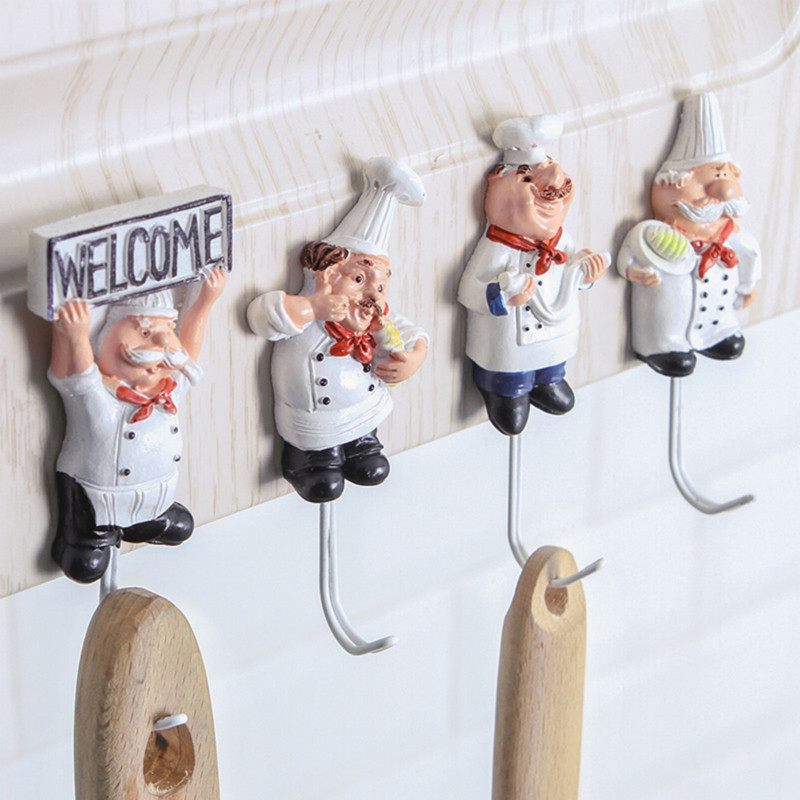 Cartoon Chef Shape Hook Wall Key Holder Powerful Adhesive Wall Door Clothes Coat Hat Hangers For Kitchen Bathroom Towel Hook