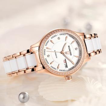 RUNOSDLadies Watch Luxury Rose Gold Zircon Day Calendar miyota Mechanical Movement Sapphire Crystal Stainless Steel 8157LS 2
