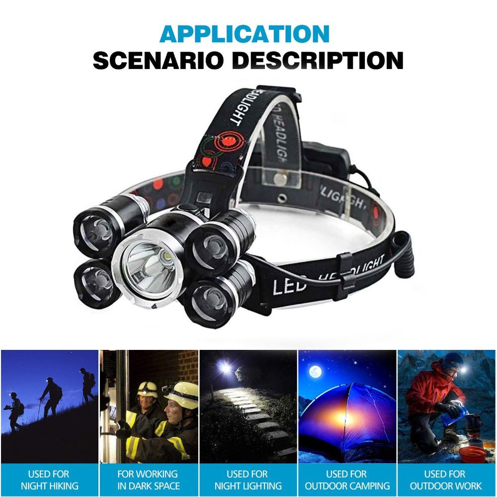 Купить с кэшбэком Super Bright 5xT6 LED Headlamp 4 Modes LED Headlight Outdoor Searchlight Fishing Light Camping Light Use 2 X 18650 Battery