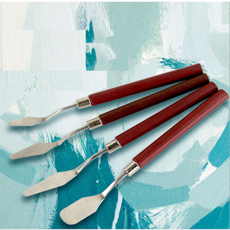 4pcs/Set Oil Painting Scrapers Artist Painting Accessories Calligraphy Palette Spatula Knife Paint Supplies