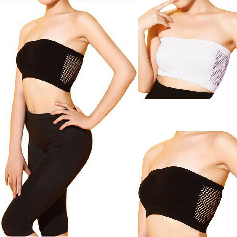 Summer Breathable Mesh Tube Top Bra Strapless Crop Top Women Ladies Sexy Bralette Bra Bandeau Boob Tube Tops Underwear