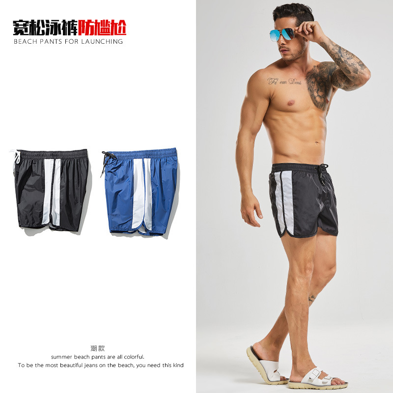 -Style Swimming Trunks Men's Boxer Quick-Dry Bubble Hot Spring Large Size Loose-Fit Swimming Trunks Men Holiday Seaside Shorts F
