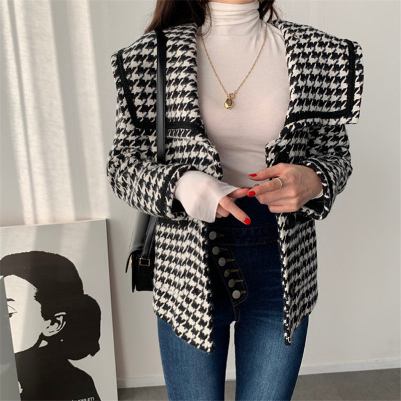 HziriP 2020 Retro Thicken Sailor-Collar Slender Houndstooth Blazers Woolen Femme Fashion Loose Elegant Office Lady Oversize Coat