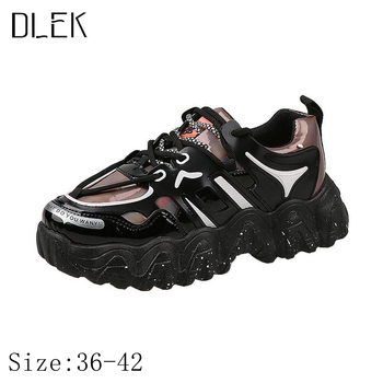 smile circle breathable mesh sneakers platform casual shoes for women 2018 autumn lace up mixed colors chunky sneakers Dlek  Ladies Sneakers Casual Thick Outsole Platform Spring/Autumn Lace-up Mixed Colors Bling Black Chunky Dad Shoes
