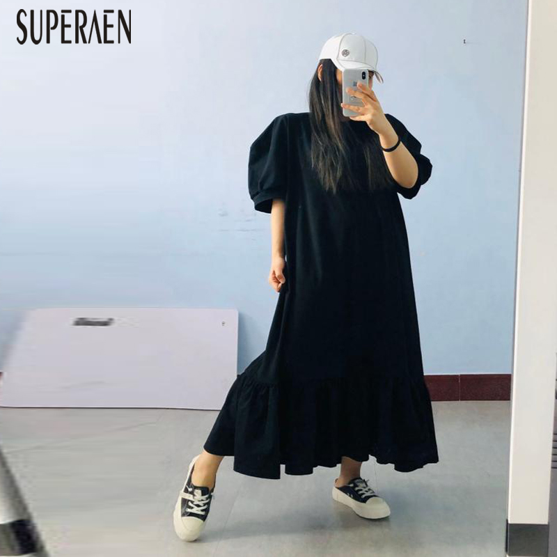 SuperAen Puff Sleeve Women Long Dress Solid Color Cotton Casual Ladies Long Dress 2020 New Summer Short Sleeve Women Clothing