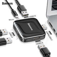 Baseus USB HUB 2.0 Multi 4 in 1 USB Port Hab Expander Splitter USB HUB Adapter with Micro for PC Laptop Computer Accessories