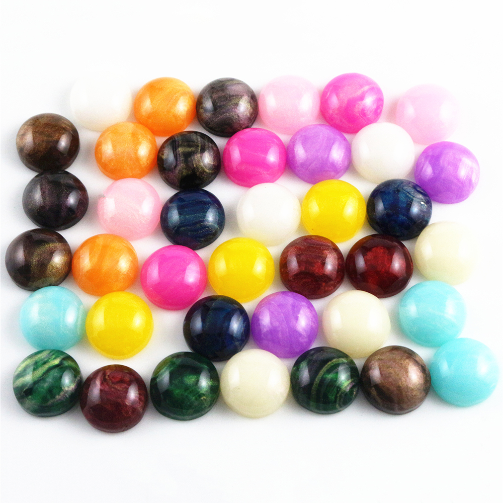 New Style 40pcs 12mm Mix Colors Flat Back Resin Cabochons Cameo Fit 12mm Cameo Base Cabochons For Charms Bracelet Necklace