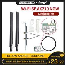 Banda dupla 3000mbps wifi 6e intel ax210 m.2 wifi cartão sem fio bluetooth 5.2 802.11ac/ax ax210ngw com antenas 6dbi para win 10