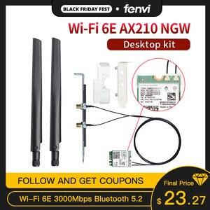 Двухдиапазонная 3000 Мбит/с Wifi 6E Intel AX210 M.2 Wifi беспроводная карта Bluetooth 5,2 802.11ac/ax AX210NGW с антеннами 6 дБи для Win 10