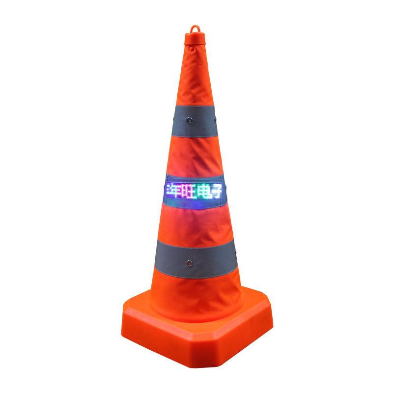 Manufacturers Direct Selling 70 Cm With LED Display Panels Telescopic Road Cone Road Jing Shi Zhui Reflective Shining Roadblocks