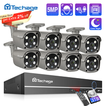 Techage 8CH 5MP HD POE NVR Kit CCTV Security System Two Way Audio AI Face Detect IP Camera Outdoor Video Surveillance Camera Set