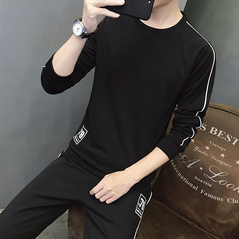 Autumn Trend Men'S Wear Collocation Trousers Clothes A Set Of Handsome Long-sleeved T-shirt Trousers Korean-style Hoodie Striped