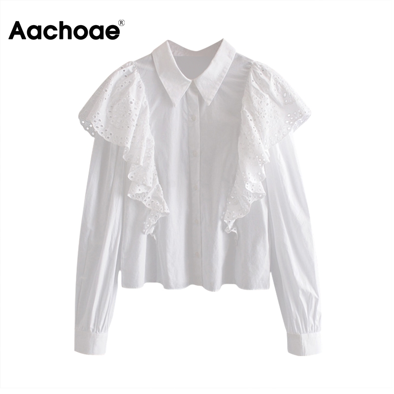 Women White Blouse Shirt Lace Ruffle Turn Down Collar Blouse Long Sleeve Ladies Office Shirt Cotton Casual Tops Chemise Femme