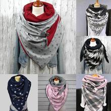 Breathable Cotton Headscarf Fashion Windproof Printing Button Splicing Cowl Scarf Cape Apparel Accessories for Women One Size